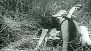 Prehistoric black-white outdoors sex scene and office fuck