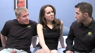 A skinny pale babe seduces two studs into some brutal boning