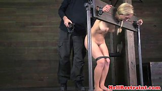 Bound bdsm sub punished in pillory by maledom