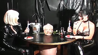 Femdom girls abuse his ass masterfully