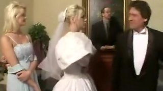 This lucky Bride gets her cunt and asshole fucked by two kinky fetish guys.