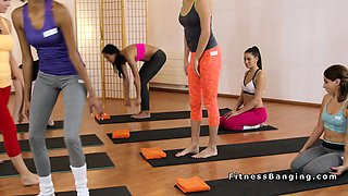 Yoga teacher licks and bangs two babes