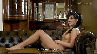 Brunette Bella Beretta loves to tease