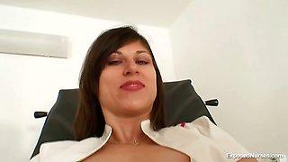 Filthy nurse pussy spreading and masturbation