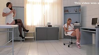 Dominant Nurse Kendra Star Spanks Submissive Coworker Lena Nitro in Clinic
