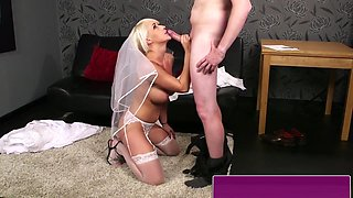 Busty Bride Blowing Lucky Cock With Passion