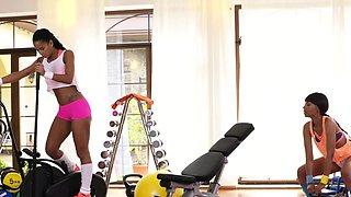 Big booty ebony lesbians licking at gym