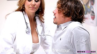 Milf doctor gives a young couple sexual tips