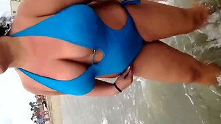 Spy Beach Mature Bikini on Bikini off Huge Boobs Compilation