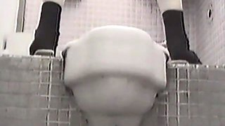 Piss pouring out of hot pussy on toilet voyeur scenes