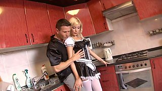 Beautiful leggy maid Donna Bell lures a stud to get her anus fucked hard