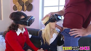 two amazing teenies have vr trio with a horny stud