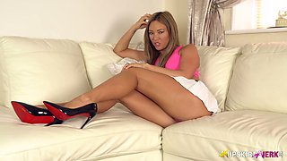 British temptress Natalia Forrest spreads legs wide open