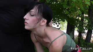 Short hair slave chick's pussy ravished by a master in a forest