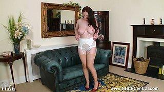 Big natural tits Brookie Little peels off white retro lingerie masturbates in rare nylons red heels