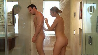 Blonde babe Alyssa Branch washes cock and butt hole of the guy