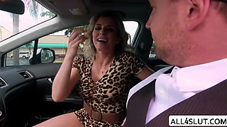 Horny Cory Chase enjoys sucking Van Wylde huge cock in the car