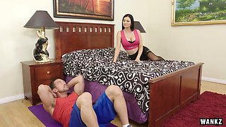 Spoiled brunette Jasmine Jae is cheating on her old fart with his stepson