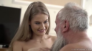 Tiffany Tatum having sex with an older gentleman with a beard
