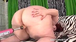 Sexy Redhead BBW Asstyn Gets Banged By Fuck Machine