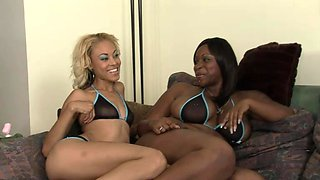 Two huge black cocks and two stunning ebony chicks at once