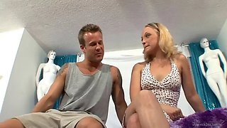 sexy blonde has her way with a guy's big cock