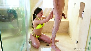 Amazing bath time with his honey Whitney Wright whom he bangs