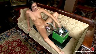 hot brunette takes a ride on a fucking machine