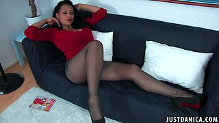 danica collins and her sheer 10 denier pantyhose