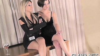 Glamour playgirl dominates lover and walks all over body