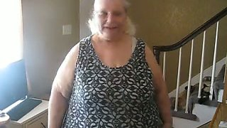 Blonde SSBBW granny flashing her titties as I tape her