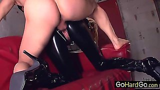 Lily Labeau Dominant blonde in PVC catsuit