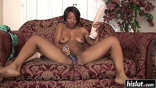 Monster dildo pleases a black babe