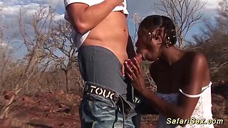 African outdoor safari fuck orgy with two hot chocolade busty babes