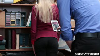 Blonde babe is being punished for her misdeeds by a horny boss