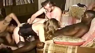 Vintage young hotwife fucked at home by three guys