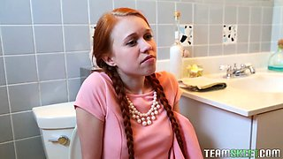 pigtailed redhead teen dolly little sucking fat prick in the bathroom