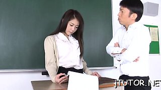 Older teacher gets her milk cans squeezed and licked