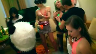Naked teen chicks drink and do party sex