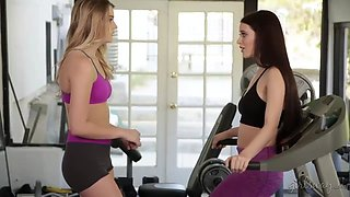 lana rhoades works out at the gym with her friend