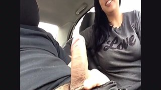 My horny GF is a head doctor and she loves sucking my dick in her car