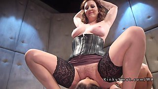 Slave gets tied up and abused by femdom slut