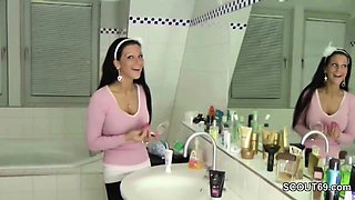 German Step-Sister Caught in Bathroom and Helps with Handjob