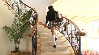 Pretty 19yearold brunette, Bella Rey, wearing a Catholic schoolgirls uniform, gives a man