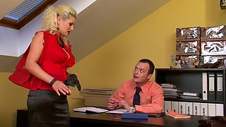 Wild office fuck with a blonde secretary
