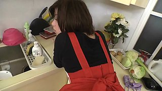 Japanese housewife fucked in her kitchen