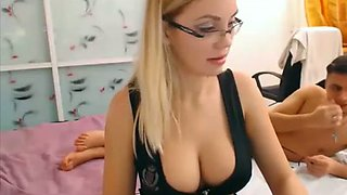 My sassy blonde gf in glasses gives me some nice blowjob