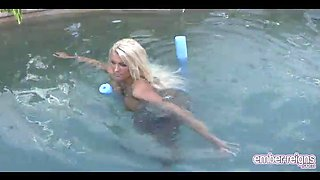 ember reigns playing in the pool