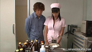 Lovely japanese hot ass nurse Hana Haruna gets fucked in hot orgasm