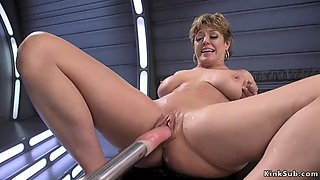 Milf rides dildos before fucking machine